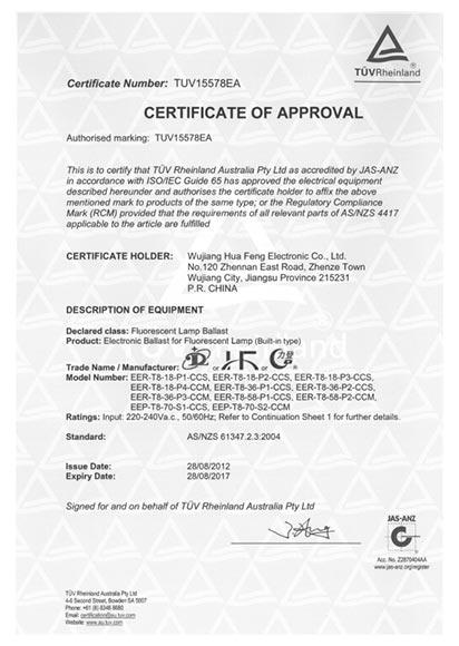T8 SAA Certificate